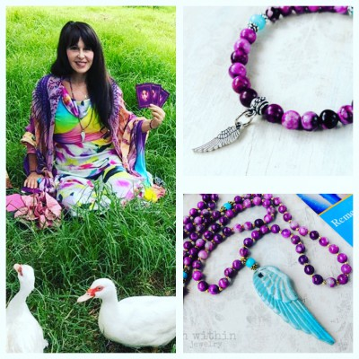Doreen Virtue wearing an Archangel Michael necklace and bracelet made by KB