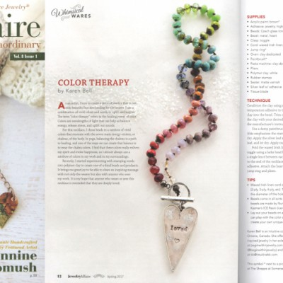 KB's Color Therapy Necklace featured in the spring 2017 issue of Jewelry Affaire Magazine